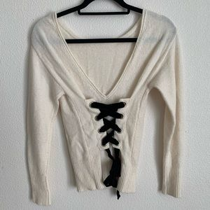 Victoria's Secret: lace up back velvet sweater
